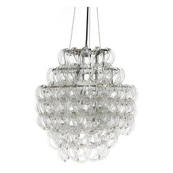Nuevo Living - Letizia Chandelier - Multiple tiers of chrome and glass cascade to create a modern burst of sparkle and light in this eclectic chandelier. Uniquely shaped glass hooks dangle from your choice of three or four tiers. Either size adds the perfect pop of chic light to your contemporary home.