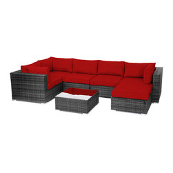 "Reef Rattan - Reef Rattan 7 Piece Sectional Sofa - Grey Rattan / Red Cushions - Reef Rattan 7 Piece Sectional Sofa - Grey Rattan / Red Cushions. This patio set is made from all-weather resin wicker and produced to fulfill your needs for high quality. The resin wicker in this patio set won't fade, shrink, lose its strength, or snap. UV resistant and water resistant, this patio set is durable and easy to maintain. A rust-free powder-coated aluminum frame provides strength to withstand years of use. Sunbrella fabrics on patio furniture lends you the sophistication of a five star hotel, right in your outdoor living space, featuring industry leading Sunbrella fabrics. Designed to reflect that ultra-chic look, and with superior resistance to the elements in a variety of climates, the series stands for comfort, class, and constancy. Recreating the poolside high end feel of an upmarket hotel for outdoor living in a residence or commercial space is easy with this patio furniture. After all, you want a set of patio furniture that's going to look great, and do so for the long-term. The canvas-like fabrics which are designed by Sunbrella utilize the latest synthetic fiber technology are engineered to resist stains and UV fading. This is patio furniture that is made to endure, along with the classic look they represent. When you're creating a comfortable and stylish outdoor room, you're looking for the best quality at a price that makes sense. Resin wicker looks like natural wicker but is made of synthetic polyethylene fiber. Resin wicker is durable & easy to maintain and resistant against the elements. UV Resistant Wicker. Welded aluminum frame is nearly in-destructible and rust free. Stain resistant sunbrella cushions are double-stitched for strength and are fully machine washable. Removable covers made with commercial grade zippers. Tables include tempered glass top. 5 year warranty on this product. Corner Chairs (3): W 33.5"" D 34"" H 26"", Center Chairs (2): W 27.5"" D 34"" H 26"", Ottoman with Cushion: W 26"" 26"" 12"", Coffee Table: W 26"" D 26"" H 12"""