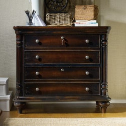Hooker Furniture Eastridge 2 Drawer Lateral File Cabinet - Give your workspace a touch of traditional charm with the Hooker Furniture Eastridge 2 Drawer Lateral File Cabinet. This beautiful piece features a wood construction with a dark finish and corner column detailing. Antique finished hardware and turned feet complete the look. This file cabinet features dual top drawers for storage and bottom file drawers with a penda flex letter/legal filing system. Both lock for security.About Hooker Furniture CorporationFor 83 years, Hooker Furniture Corporation has produced high-quality, innovative home furnishings that seamlessly combine function and elegance. Today, Hooker is one of the nation's premier manufacturers and importers of furniture and seeks to enrich the lives of customers with beautiful, trouble-free home furnishings. The Martinsville, Virginia, based company specializes in lifestyle driven furnishings like entertainment centers, home office furniture, accent tables, and chairs.Construction of Hooker FurnitureHooker Furniture chooses solid woods and select wood veneers over wood frames to construct their high-quality pieces. By using wood veneer, pieces can be given a decorative look that can't be achieved with the use of solid wood alone. The veneers add beautiful accents of color and design to the pieces, and are placed over engineered wood product for strength. All Hooker wood veneers are made from renewable resources and are located primarily on the flat surfaces of the furniture, such as the case tops and sides.Each Hooker furniture piece is finished using up to 30 different steps, including 13 steps of hand-sanding and accenting. Physical distressing is done by hand. Pieces receive two to three coats of solid lacquer to create extra depth and add durability to the finish. Each case frame is assembled using strong mortise-and-tenon joints, which are then reinforced by mechanical fasteners and glue. On most designs, end panels extend to the floor to add 