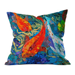 DENY Designs - Elizabeth St Hilaire Nelson Koi Outdoor Throw Pillow - Do you hear that noise? it's your outdoor area begging for a facelift and what better way to turn up the chic than with our outdoor throw pillow collection? Made from water and mildew proof woven polyester, our indoor/outdoor throw pillow is the perfect way to add some vibrance and character to your boring outdoor furniture while giving the rain a run for its money. Custom printed in the USA for every order.