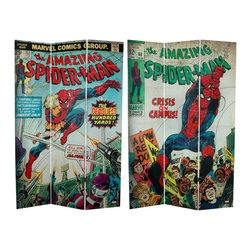 Oriental Furniture - 6 ft. Tall Double Sided The Amazing Spider-Man Canvas Room Divider - Original cover art from two vintage issues of the Amazing Spider-Man, Marvel's renowned comic book superhero and blockbuster movie superstar. Limited edition design with three panels, almost six feet tall, sturdy and lightweight, ideal for dividing or defining space and providing privacy.