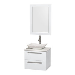 "Wyndham Collection - Amare 24"" Bathroom Vanity Set White Carrera Marble Sink, White, White Stone Top - Product Features"