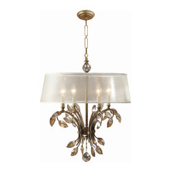 Uttermost - Uttermost 21245 Alenya 4 Light Burnished Gold Chandelier w/ Crystals - Burnished Gold Metal with Golden Teak Crystal Leaves and a Silken Champagne Sheer Fabric Shade