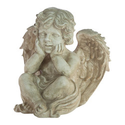 Casa de Arti - Angel Resting Head in Hands Cherub Figure Statue Classic Famous Statuary Home De - Beautiful Sculpture of an Angel resting, perfect for a gift to a loved one or a gift to yourself at an incredible price!!