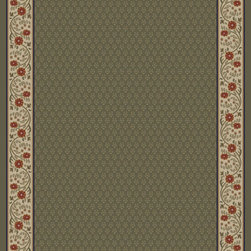 """Concord Global - Concord Global Jewel Harmony Green 6'7"""" x 9'6"""" Rug (4025) - Jewel collection is machine-made in Turkey using 100% heat-set polypropelene. These traditional to contemporary rugs will make a colorful addition to any area."""