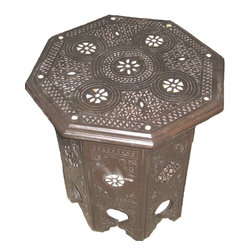 kenza - Syrian Side Table - Syrian Side Table made of cedar wood and mother of pearl inlay, all hand carved by artisan.