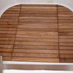 Teak Bath Mat - Custom sized Teak Bath Mat inside shower of a boat.  Large or small we can customize a mat for any shower!
