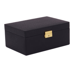 WOLF - Brighton Jewelry Box Small, Black - Add a pop of color with the Brighton collection. Each case features a rich, saffiano leather exterior in orange, cream, or black and a contrasting plush interior.  The small jewelry box contains a vanity mirror behind the lid and two small pull out trays with open compartments and a ring roll.