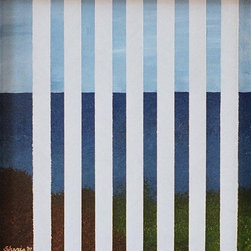 """""""Open Spaces"""" Artwork - A still sea and soft gray blue sky peek through white blinds, bringing a bit of mystery to the calming landscape. Hang it in a bathroom or windowless nook to add intrigue to your space. Geometric details add an abstract twist to artist Sharis Dejaynes' captivating painting."""
