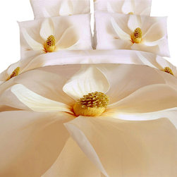 Dolce Mela - Luxury Bedding Duvet Covet Set Modern Linens Dolce Mela DM402, Queen - Pure, innocent and refreshing.   Vibrant magnolia flowers will cover your bed with this romantic bedding ensemble and stimulate the energy of your private retreat.