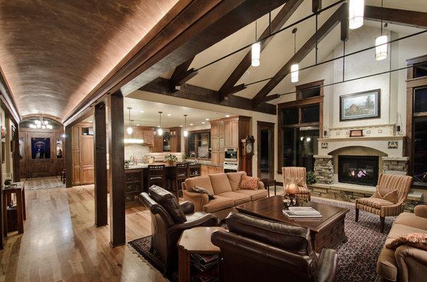 Rustic Living Room by Aneka Interiors Inc.
