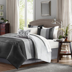 Home Essence - Home Essence Belleview 5 Piece Comforter Set - A modern twist to a classic color block bed. Belleview is made from a faux silk texture with pleating details to give it an update to a classic look. Features colors of black, platinum and charcoal grey. Comf and sham face: polyoni pintuck; back: micro fiber; Filling: 100% polyester 270gsm; shirt: polyoni; pillow cover: polyester, filling is polyester.
