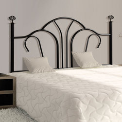 Monarch - Satin Black Queen / Full Size Combo Headboard Only - Create a romantic and calming space with this satin black metal headboard. Tall tube posts, a curved crown, elegant looping and classic spherical finials will give your bedroom a quick update with a simple yet timeless look. This headboard has the ability to fit either a full or queen size bed frame, and can be used as a headboard or footboard fit your room and meet your decorating needs.