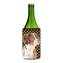 Caroline's Treasures - Brittany Candy Corn Halloween Portrait Wine Bottle Koozie Hugger - Brittany Candy Corn Halloween Portrait Wine Bottle Koozie Hugger Fits 750 ml. wine or other beverage bottles. Fits 24 oz. cans or pint bottles. Great collapsible koozie for large cans of beer, Energy Drinks or large Iced Tea beverages. Great to keep track of your beverage and add a bit of flair to a gathering. Wash the hugger in your washing machine. Design will not come off.