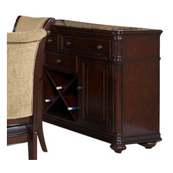 Liberty Furniture - Liberty Furniture Kingston Plantation Server in Cognac, Dark Wood - Fix your dining storage woes with this serving table. The server's top drawers are lined in felt for delicate items like silverware and antiques. Two door cabinets are ideal for glasses, plates, and serving dishes. This chest even boasts a removable wine bottle rack. Don't let the functionality of this buffet trick you, though! It's useful nature is hidden behind a gorgeous case, covered in a hand-rubbed cognac finish, antique brass hardware, and traditional moulded accents. Emperadora marble inserts adorn the chest for added detail and elegant style. What's included: Server (1).
