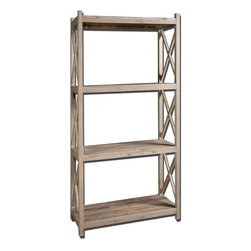 Uttermost - Stratford Reclaimed Wood Etagere - Naturally Weathered, Reclaimed Fir Wood With A Light Gray Glaze.