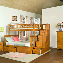 Atlantic Furniture - Caramel Latte Columbia Staircase Bunk Bed Twin/Full with 2 Drawers - This Columbia Staircase Bunk Bed with Storage by Atlantic Furniture will surely become a favorite sleepy time fort and you can feel good about the quality and value. It has classic mission styling that is constructed in solid eco-friendly hard rubber wood. The Columbia Staircase Bunk Bed with Storage is available in three durable finishes  antique walnut, caramel latte or white. Designed to combine ease of use and space efficiency, the staircase section comes with four fully assembled drawers for extra storage. In addition, the stairs with built in handrail are easier to climb then the standard bunk bed ladders. It can be set up at either end of the bed. With its 26 steel reinforcement points and two 14 piece slat kits, this bed is as sturdy as they come. It is available in a twin-over-twin size which measures 69 H x 44.375 W x 103 D, or a twin-over-full size which measures 69 H x 58.375 W x 103 D. Both sizes can accommodate up to 400 lbs. The mattresses are not included and are recommended to be no higher than 9. Assembly is required. With so many sleep options the Columbia Staircase Bunk Bed with Storage creates convenient space in your child's room. Features: -Staircase can be set up at either end of the bunk bed.-Staircase chest comes Fully assembled in two boxes.-Bed accommodates up to a 9.05'' mattress.-High build five step.-Safety by design.-Eco friendly.-ASTM and CPSC certified.-Solid hardwood construction.-Mortise and tenon construction.-Durable, non toxic and lead free finish.-Columbia collection.-Collection: Columbia.-Distressed: No.Dimensions: -Twin over Twin dimensions: 69'' H x 44.375'' W x 103'' D.-Twin over Full dimensions: 69'' H x 58.375'' W x 103'' D.-Overall Product Weight: 398 lbs.Warranty: -Manufacturer provides one year warranty.