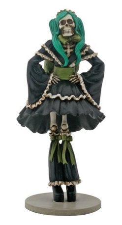Summit - 8.75 Inch Cold Cast Resin Black Dress Skeleton J-Pop Girl Figurine - This gorgeous 8.75 Inch Cold Cast Resin Black Dress Skeleton J-Pop Girl Figurine has the finest details and highest quality you will find anywhere! 8.75 Inch Cold Cast Resin Black Dress Skeleton J-Pop Girl Figurine is truly remarkable.