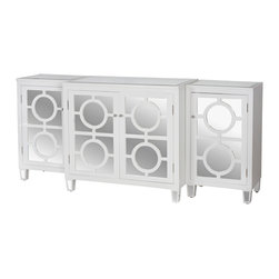 Kathy Kuo Home - Malta Global Bazaar White Lacquer Mirror Buffet Sideboard - A beautiful buffet stretches out to hold all of your dishes, linens and serveware.`Geometric, wood grain white framing contrasts with the sleek, mirrored doors of this spacious sideboard. The top of the cabinet is inset with beveled mirror for a modern accent. Three separate cabinets pushed together create this sideboard.