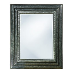Howard Elliott - Asher Rectangular Bright Nickel Mirror - This piece features a Traditional rectangular frame with a stepped design embellished with a delicate filigree floral design. It is finished in a bright nickel distressed with black highlights.