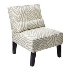 Z Gallerie - Bailey Accent Chair - Zebra - Our Bailey Chair upholstered in Kenya Steel, a Zebra pattern will provide comfort but, more importantly, it provides a statement of fashion. The armless slipper chair covered in 100% linen is cushioned with high-density foam padding. The lumbar accent pillow adds comfort and style. The scale of the chair makes it perfect for bedrooms or as pairs without forfeiting a lot of space.