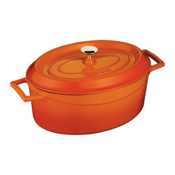 Lava Metal Dokum San. Tic. A.S. - Lava Signature Enameled Cast Iron 4.5 Qt. Oval Dutch Oven, Orange Spice - Lava's Signature Oval 4-1/4 Quart capacity Dutch Oven's cooking area is 10-1/2 inches long, 8-1/4 inches wide and 6 inches tall and made expressly for creating family sized amounts of delicious culinary goodness. This modern oven is perfect for soups and stews, roasting duck and chicken, slow cooking beef and pork or baking delicious delicate casseroles. It comes in many beautiful colors.