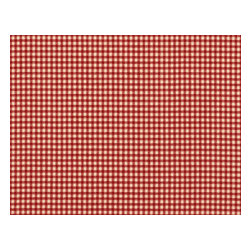 """Close to Custom Linens - 90"""" Tablecloth Round Gingham Check Crimson Red - A charming traditional gingham check in crimson red on a beige background. Includes a 90"""" round cotton tablecloth."""