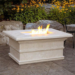 Modena Luxury Fire Pit Table with Flute Trim - The gas fireplace of the Modena Luxury Fire Pit Table with Flute Trim can double as a gorgeous outdoor table thanks to the stone covering that is provided. -Mantels Direct