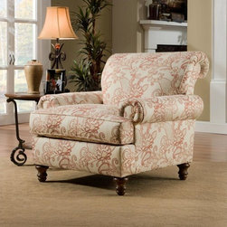 Simmons - Simmons Upholstery Crawford Chair - The Simmons Upholstery Crawford chair features a lovely scrollwork pattern to bring contemporary appeal to your home decor. Scrolled arms,plush foam filling and a wood leg design completes this chic living room furniture.