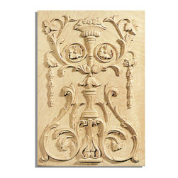 "Inviting Home - Pasadena Door Panel - maple wood (PN12/pl6) - door panel in hard maple wood; 12-7/8""W X 18-7/8""H x 3/4""D Wood panels are hand carved from premium selected hardwoods: hard maple cherry and white oak. Panels are carved in deep relief design to achieve the highest degree of quality and details. Carved wood panels are triple sanded ready to accept stain or paint. These wood panels are perfect for wall applications cabinet doors finishing touches on the custom cabinets."