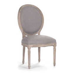 Kathy Kuo Home - Pair Madeleine French Country Oval Gray Linen Dining Side Chair - Eye-catching and neutral at once, the Madeleine dining chairs provide elegant seating and a stately backdrop for bright table settings and colorful guests. Delicately carved legs join linen and burlap upholstery to complete the French country look for your traditional home or rustic cottage. Item sold as a pair.