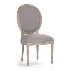 Kathy Kuo Home - Pair Madeleine French Country Oval Gray Linen Dining Side Chair - Eye-catching and neutral at once, the Madeleine dining chairs provide elegant seating and a stately backdrop for bright table settings and colorful guests. Delicately carved legs join linen and burlap upholstery to complete the French country look for your traditional home or rustic cottage.