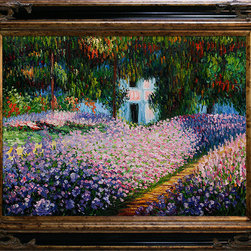 """overstockArt.com - Monet - Artist's Garden at Giverny Oil Painting - 30"""" x 40"""" Oil Painting On Canvas Originally painted in 1900 by French Impressionistic painter Claude Monet, Artist's Garden at Giverny depicts his beautiful botanical garden and the reflections of the flowers on the water. Originally the artist rented the property and was finally able to buy it after experiencing an influx of income when his paintings started selling. When Monet eventually purchased this estate, he focused on redesigning the gardens that already existed. Enjoy a gorgeous recreation of Artist's Garden at Giverny when you bring this hand painted oil painting into your home. One of Monet's most famous works, Monet used beautiful color combinations to depict his flowers along a simple dirt path that leads to a pond. Choose from one of our many museum-quality frames that will complement the beauty of this painting."""