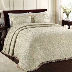 Lamont Home - Lamont Home All Over Brocade Standard Pillow Sham in Sage - Create a sophisticated bedding ensemble with this All Over Brocade standard sham. It features the same beautiful brocade pattern and fringed edging as the bedspread.