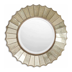 """Uttermost - Uttermost Amberlyn Traditional Round Mirror X-B 82080 - The round, center mirror with generous 1 .25"""" bevel, is surrounded by heavily antiqued gold leaf mirrors with burnished edges and antiqued, etched glass panels."""