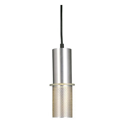 George Kovacs - Larry 1-Light Pendant, Chrome - This clever pendant is two lamps in one. The top half of its cylindrical shade is solid metal with a chrome finish; the bottom is prettily perforated to let soft light through to your space. Innovatively designed by George Kovacs, it's elegant lighting that's uncommonly engaging.