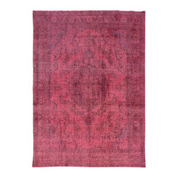 """ALRUG - Handmade Ruby Persian Antique Overdyed Rug 8' 3"""" x 11' 6"""" (ft) - This Persian Overdyed design rug is hand-knotted with Wool on Cotton."""