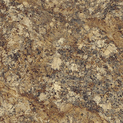 Summer Carnival - Gorgeous, golden ambers accented with a kaleidoscope of browns and greys lend light and warmth to this granite, with rich deposits of quartz and mica highlighting the lavish surface.