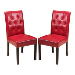Great Deal Furniture - Waldon Leather Dining Chair, Set of 2, Red - Warm welcome: Some chairs just seem to invite company. This is one such design. Crafted in natural hardwoods and leather with plush seating, these gems are tufted back to encourage delightful times over a meal. And should dinner extend into an evening affair, these chairs can do double duty as side chairs in your living room.