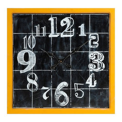 Retro Yellow Mitchell Wall Clock - *A fun addition to any room, the Mitchell Wall Clock features a face painted to look like a chalk board drawing. With it's bright yellow frame and quirky numbering, this clock will make you smile while you pass the time.