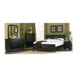 Homelegance - 5-Piece Dark Wood Bedroom Set in Black (Full) - Choose Bed Size: Full