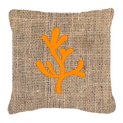 Caroline's Treasures - Coral Burlap and Orange Fabric Decorative Pillow Bb1103 - Indoor or Outdoor Pillow from heavyweight Canvas. Has the feel of Sunbrella Fabric. 18 inch x 18 inch 100% Polyester Fabric pillow Sham with pillow form. This pillow is made from our new canvas type fabric can be used Indoor or outdoor. Fade resistant, stain resistant and Machine washable..