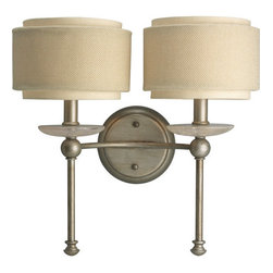 Progress Lighting - Progress Lighting P2843 Ashbury Two-Light Wall Sconce - Add elegance and style to any home with this attractive two light wall sconce from the Ashbury collection. Featuring quartz inspired bobeches and a unique double-drum shade with thistle weave and toasted linen fabric creates an opulent atmosphere for any room.Features: