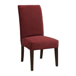 Powell Classic Seating Velvet Short Dining Room Chair Cover - The Powell Classic Seating Velvet Short Dining Room Chair Cover is called a classic for a reason. Instantly update your dining chairs with a cheery red color and the opulent feeling of velvet. This lovely cover is the perfect way to get a new look and is sure to coordinate with any decor style. Dining has never felt so luxurious.