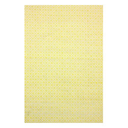 nuLOOM - nuLOOM Hand Loomed Chalet Diamonds Rug, Ming Yellow, (8' X 10') - Material: 100% Cotton