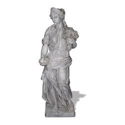 Amedeo Design, LLC - USA - Four Seasons Spring Statue - Medium - Our Four Season Statues are truly beautiful and have tremendous versatility inside or out. Being made from ResinStone, it is also easily moved to different locations, yet by looking at it you would think it is made from stone. Though they look like ancient European & Mediterranean designs in carved stone, our products are made of lightweight weatherproof ResinStone. So authentic, you actually have to lift them to convince yourself they're not stone at all! Made in USA.