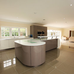 Grey Gloss Kitchen - High gloss Basalt grey kitchen island with breakfast bar