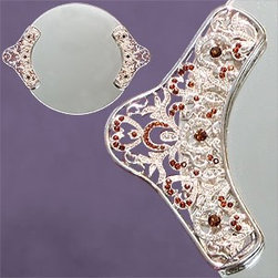 Artico - Round Mirror Tray with Classic Red Crystals on Silver Colored Handles - This gorgeous Round Mirror Tray with Classic Red Crystals on Silver Colored Handles has the finest details and highest quality you will find anywhere! Round Mirror Tray with Classic Red Crystals on Silver Colored Handles is truly remarkable.