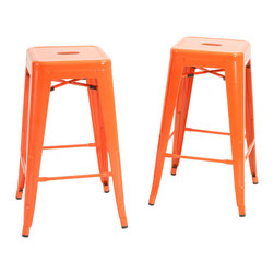 Great Deal Furniture - Munich Orange Steel Dining Stools (Set of 2) - The Munich Orange Steel Stool is a modern and edgy piece, ideal for those looking to add to their urban decor. This stool is suitable for your modern, urban dining space.