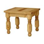Rustic Pine Furniture ~ End Table - The hand carved legs of this Lyon end table provide sturdy support as well as style. Perfect for next to a bed or sofa; pair it with one of our rustic Lyon headboards or coffee tables. The exterior of distressed solid pine creates a southwestern style that goes well with most other furniture designs. You'll appreciate the fine Mexican craftsmanship.
